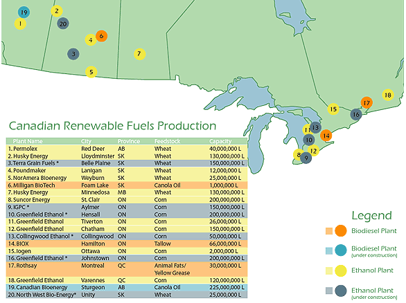 Biofuel plants in Canada, concentrated in Canada's industrial heartland and the prairies.